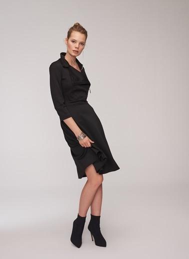 People By Fabrika Anvelop Etekli Elbise Siyah